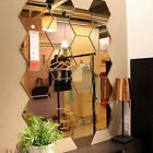 12pcs Hexagon Removable Acrylic Mirror Wall Stickers Art Diy Home Decoration Au