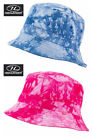 Mens Ladies Unisex Sun Hat Bucket Outdoor Festival Tie Dye White Blue Pink S-XL