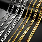 3/5/7/9/11mm Stainless Steel Silver Gold Men Cuban Link Necklace Chain 16-24inch