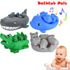 4PCS Cute Rubber Animal Family Pals Floating Squeaky Bathtub Play Toys For Baby