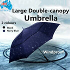 Large Automatic Open Golf Umbrella Double-Canopy Windproof Waterproof Black