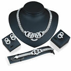 Women Lady Fashion Jewelry Sets Rhinestone Necklace+Earrings+Bracelet+Ring GiftN