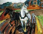 Horse Team by Edvard Munch. Giclee Pets Art Reproduction Prints Canvas or Paper