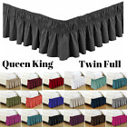 Bed Dust Ruffle Skirt Twin Full Queen King Size Elastic Wrap Around 18 Colors image
