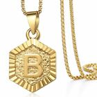 Hexagon A-z Gold Plated 14k Initial Letter Pendant Necklace Unisex Mens Womens