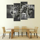 4 Panel Framed B&W Native American Chief & Wolf Modern Wall Art Canvas HD Print