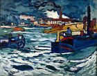 Barges on the Seine by Maurice de Vlaminck. Boat Art Reproduction Prints Canvas