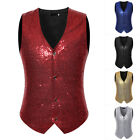 Men's Slim Sequins Sleeveless Vest Cocktail Party Shiny Glitter Button Waistcoat