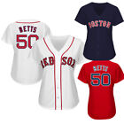 Womens Boston Red Sox 50 Mookie Betts Red White Navy Jersey size S 2XL