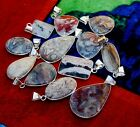 Natural Pcs CRAZY LACE AGATE Gemstone 925 Sterling Solid Silver Necklace Pendant