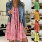 Women's Ladies Sexy Loose Print Hlaf Sleeve Ruffles Mini Dress Summer Dress