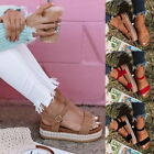 Summer Womens Ladies Flatform Espadrille Sandals Buckle Strap Beach Shoes Size