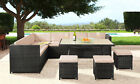 9 Seater Rattan Outdoor Garden Furniture Dining Set - Corner Sofa Table & Stools