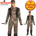 CA1044 Soldier Green Army Military Camo Hero Uniform Warrior Fancy Dress Costume