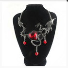 Crystal Pendant Necklace Vintage Dragon  Heart Gothic Rock Steampunk Jewellery