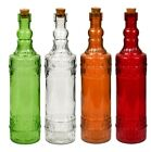 Glass Bottles Colorful Vintage with Cork Tops (Variety)