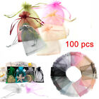 100pc S/l Organza Favour Pouches Voile Net Bags Drawstring Jewellery Candy Sack