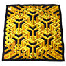 Authentic HERMES Carre Cube Scarf Black Yellow Silk Vintage WA00424