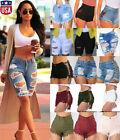 Women High Waisted Jeans Shorts Ripped Destroyed Denim Pants Hot pants Summer