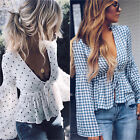Womens Deep V Neck Long Sleeve Casual Front Tie Spotted Shirt Blouse Peplum Tops