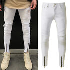 Men Ripped Jeans Super Skinny Slim Fit Denim Pants Destroyed Frayed Trousers Zip