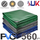 560gsm Heavy Duty Waterproof PVC Tarps Tarpaulin Cover Sheet Lorry Boat Tarp UK