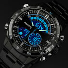 Men's Military Wrist Quartz Watches Stainless Steel Chronograph Alloy Date Watch image