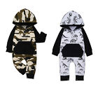 Newborn Baby Boy Clothes Long Sleeve Hooded Romper Camo Jumpsuit Overall Outfits