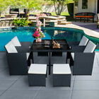 9 Piece Rattan Garden Furniture Cube Set Chairs Dining Table Outdoor Patio