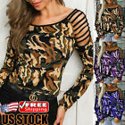 Women Hollow Out Camo T-Shirt Ladies Long Sleeve Loose Casual Blouse Tops Shirts
