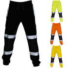 Men Reflective Overalls High Visibility Safe Work Sweatpants Joggers Trousers 32