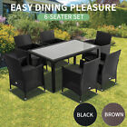 7pcs Outdoor Dining Furniture Set Wicker Garden Table & Chairs