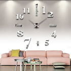 3D Modern Wall Clock Sticker Mirror Effect DIY Art Office Living Room Decor Cool