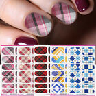 Nail Water Decals Mix Patterns Checked Nail Art Transfer Stickers Full Wraps DIY