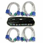 2 or 4 Port USB/PS2 KVM VGA Switch with 2 or 4 Set Cable For Mouse Monitor PC