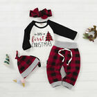 US My 1st Christmas Clothes Infant Baby Girl Boy Kids Romper Top+Pants Outfits