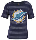 Miami Dolphins NFL Football Juniors Striped Bolder Tee Top Shirt - Navy Blue $17.99 USD on eBay