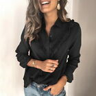 1x Fashion Womens Blouse V Neck Office Work Blouse Dress Long sleeve Shirts Tops