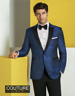 Couture 1910 Navy Paisley 1-Button Peak Lapel Ultra Slim Tuxedo Jacket