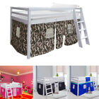 Shorty Mid Sleeper Cabin Single Bed Loft Bunk Tent Girls Boys White Frame w/Tent