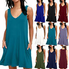 Women Sleeveless Long Top Pocket Jersey Swing Tank Dress Summer Plain Sundress