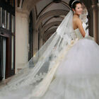 Wedding Gown Cathedral Long Lace Edge Lvory Veil 3 M Bridal White Tulle