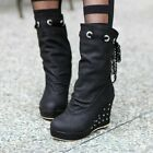 Women Lace Up High Wedge Heels Platform Mid-calf Boots Punk Cocktail Party Shoes