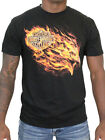 Harley-Davidson Mens Blazing Flames Eagle Black Short Sleeve Biker T-Shirt $14.99 USD on eBay
