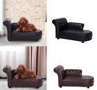 Pet Chaise Lounge Small Plastic Dog Cat Faux Leather Soft Sofa Bed chair seat