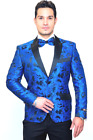 Amsterdam Royal Blue Floral Slim Fit Tuxedo Jacket