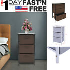 Steel Frame Wood Top Nightstand End Table Bedroom Bedside Furniture W/ 3 Drawer