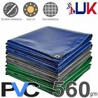 560GSM Heavy Duty Waterproof PVC Tarps Tarpaulin Sheet-Grey,White,Green,Blue