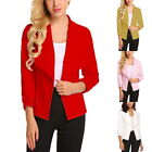 Damen Blazer Business Büro Anzug Jacke Mantel Slim Fit Kurzjacke Outwear P/D