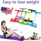 Foot Pedal Pull Rope Resistance 4-Tube Home Fitness Yoga Gym Equipment Sit-up US image